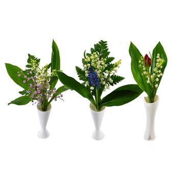 MUGUET COUPE 03BRINS VASE MIX Gypso Muscari Rose